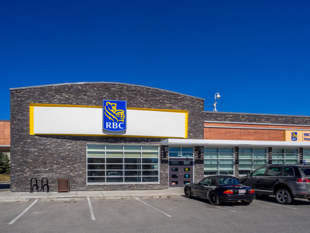 bank branch: RBC Bank branch in Calgary on May 29, 2015 in Calgary, Alberta Canada. RBC is a major Canadian bank, and this branch is located at Aspen Landing in Calgary.
