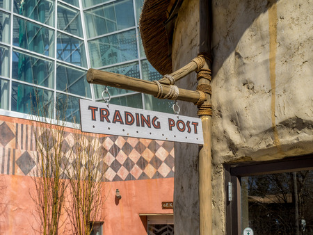 sign post: Generic trading post sign. Stock Photo