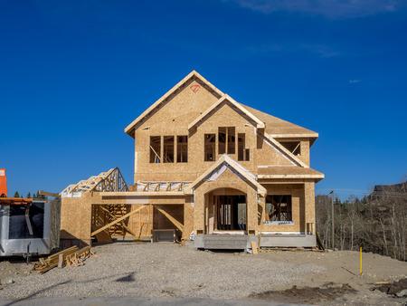 suburban: Suburban estate home under construction in Aspen Woods on April 26 2015 in Calgary Alberta.