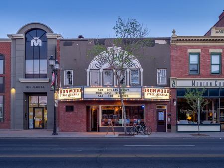 upscale: Buildings in Calgarys Inglewood on May 23 2015. It is known for trendy restaurants nightlife art galleries and upscale shops all popular with locals and tourists. Editorial