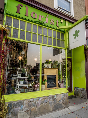 17th: Florist shop in the 17th Ave district on May 24 2015 in Calgary Alberta Canada. Calgarys 17th Ave district is a trendy and urban part of Calgarys inner city.