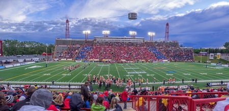 canadian football: Panorama of a preseason crowd at a Calgary Stampeders football game in Calgary