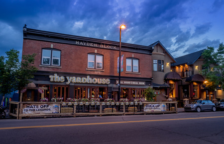 upscale: Facade of a pub in the Kensington area on June 12, 2015. It is known for trendy restaurants, nightlife, galleries and upscale shops, all popular with locals and tourists. Editorial