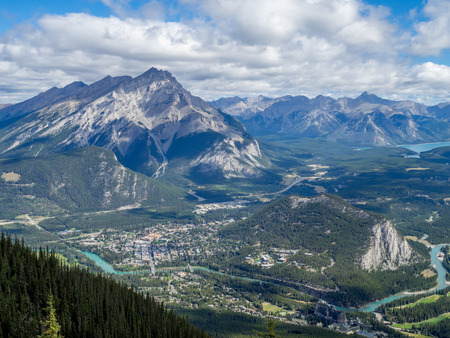 Banff Town view from Sulphur Mountain in Alberta, Canada Stock Photo