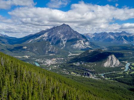 sulphur: Banff Town view from Sulphur Mountain in Alberta, Canada Stock Photo