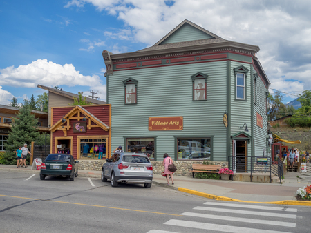 radium: INVEMERE, BRITISH COLUMBIA, CANADA - AUG 8: Main street in the town of Invemere on August 8, 2015 in the Canadian Rockies. Invemere is located in BC on lake Windemere and is a popular destination. Editorial