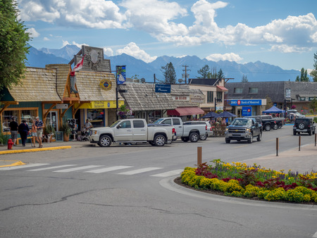 INVEMERE, BRITISH COLUMBIA, CANADA - AUG 8: Main street in the town of Invemere on August 8, 2015 in the Canadian Rockies. Invemere is located in BC on lake Windemere and is a popular destination. Editorial