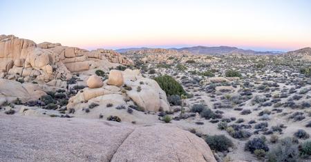 joshua: Jumbo Rocks at sunset in Joshua Tree National Park, California, USA. Stock Photo