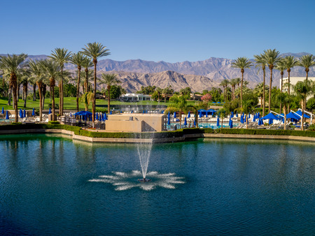 palm desert: PALM DESERT, CA - NOV 18: View of the Pools at the JW Marriott Desert Springs Resort  Spa on November 18, 2015 in Palm Desert, California. The Marriott is popular golf and convention destination.