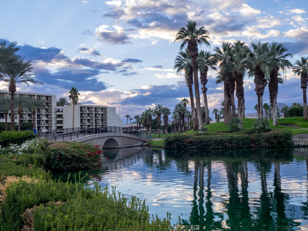 golf of california: PALM DESERT, CA: Sunrise at the JW Marriott Desert Springs Resort  Spa in Palm Desert, California. The Marriott is popular golf and convention destination.
