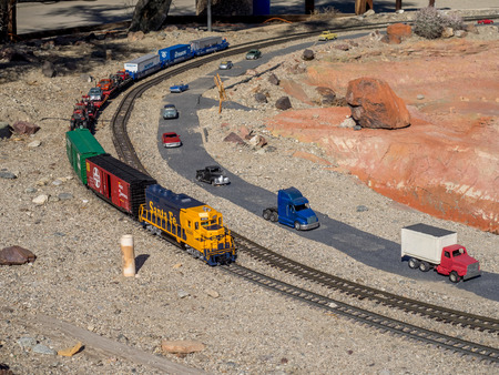 industrial park: PALM DESERT, CALIFORNIA - NOV 22: Railroad and City Miniature is displayed at Living Desert Zoo on November 22, 2015 in Palm Desert, California. Editorial