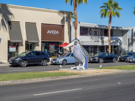 paseo: PALM DESERT, CA - NOVEMBER 22: El Paseo Shopping District on November 22, 2015 in Palm Desert. The Rodeo Drive of the desert, it features over 300 shops boutiques art galleries jewelers restaurants.