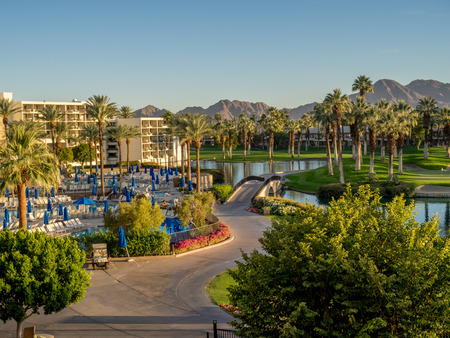 golf of california: PALM DESERT, CA - NOV 19: View of the Pools at the JW Marriott Desert Springs Resort  Spa on November 19, 2015 in Palm Desert, California. The Marriott is popular golf and convention destination.