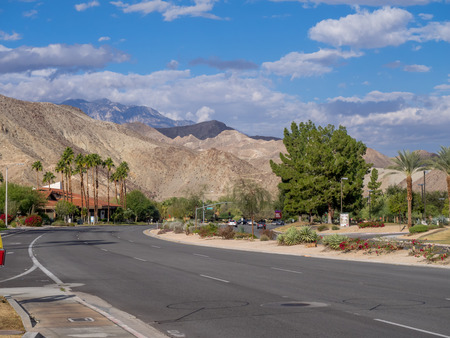 paseo: Highway in Palm Springs, California, United States. Editorial