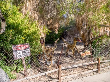 PALM DESERT, CALIFORNIA - NOV 22: Dinosaur exhibits at the Living Desert Zoo on November 22, 2015 in Palm Desert, California. The Living Desert Zoo is a popular tourist attraction in the Coachella. Redakční