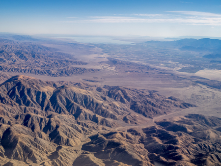 Mojave Desert seen from the air. Stock Photo