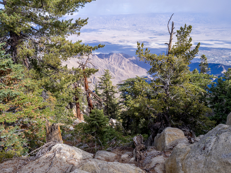 Coachella Valley and Palm Springs from the Aerial Tramway, San Jacinto State Park, Palm Springs, California, USA Stock Photo