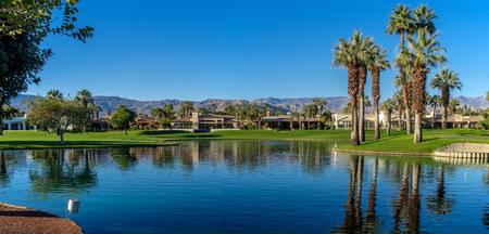 palm desert: View of water features at a golf course  in Palm Desert, CA.