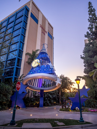 located: ANAHEIM, CALIFORNIA - FEBRUARY 11: Exterior entrance to Disneys Disneyland Hotel on February 11, 2016 in Anaheim, California. Disneyland Hotel is a resort hotel located at the Disneyland Resort.