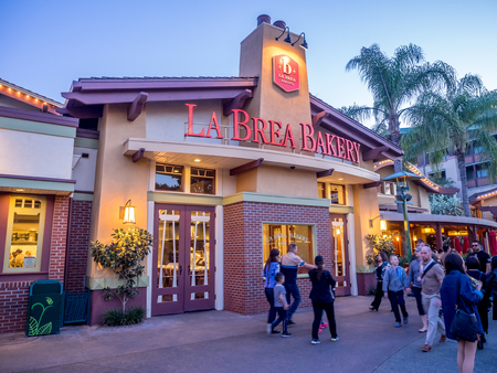 brea: ANAHEIM, CALIFORNIA - FEBRUARY 11: La Brea Bakery store in Downtown Disney on February 11, 2016 in Anaheim, California. Downtown Disney is a shopping and entertainment district located at the Disneyland resort. Editorial