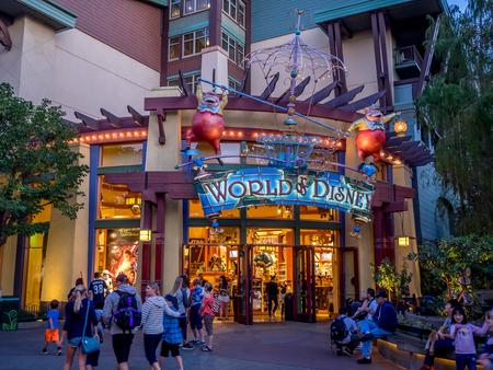 entertainment district: ANAHEIM, CALIFORNIA - FEBRUARY 11: World of Disney store in Downtown Disney on February 11, 2016 in Anaheim, California. Downtown Disney is a shopping and entertainment district located at the Disneyland resort. Editorial