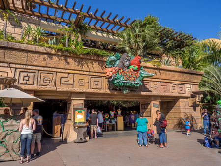 entertainment district: ANAHEIM, CALIFORNIA - FEBRUARY 13: Rainforest Cafe in Downtown Disney on February 13, 2016 in Anaheim, California. Downtown Disney is a shopping and entertainment district located at the Disneyland resort. Editorial