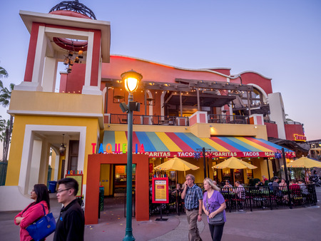 entertainment district: Taqueria at Downtown Disney shopping and entertainment district at night in Anaheim California.