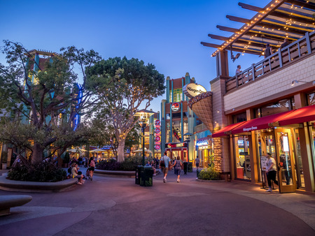entertainment district: Downtown Disney shopping and entertainment district at night in Anaheim California.