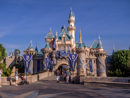 Sleeping Beauty Castle at Disneyland Park. This iconic building is based on the late-19th century Neuschwanstein Castle in Bavaria, Germany. Editorial