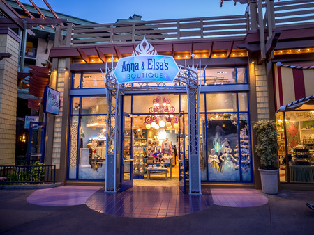 entertainment district: Anna  Elsas Boutique in Downtown Disney shopping and entertainment district at night in Anaheim California. Editorial