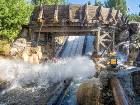 rafters: ANAHEIM, CALIFORNIA - FEBRUARY 13: Rafters enjoying the Grizzly River Run rider at Disney California Adventure Park on February 13, 2016 in Anaheim, California. Disney California Adventure Park is themed after the history and culture of California.