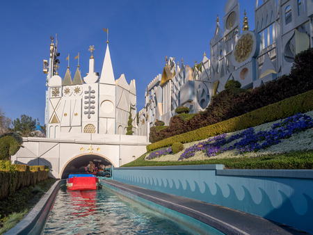 small world: ANAHEIM, CALIFORNIA - FEBRUARY 12: A boat about to enter the Its a Small World attraction at Disneyland on February 12,, 2016 in Anaheim, California. Disneyland is Walt Disneys original theme park. Editorial