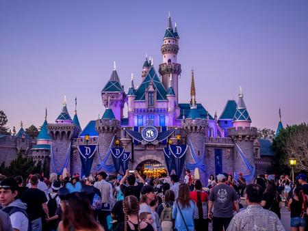ANAHEIM, CALIFORNIA - FEBRUARY 15: Sleeping Beauty Castle at Disneyland Park at Disneyland in the evening on February 15, 2016 in Anaheim, California. Disneyland is Walt Disneys original theme park. Editorial