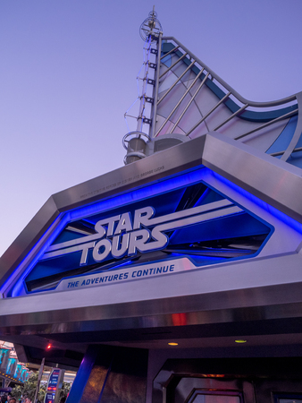 ANAHEIM, CALIFORNIA - FEBRUARY 15: Star Tours ride at Disneyland in the evening on February 15, 2016 in Anaheim, California. Disneyland is Walt Disney's original theme park.