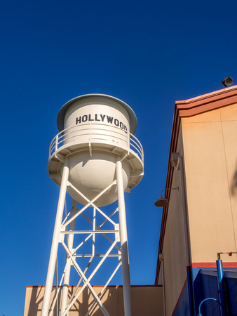 rafters: ANAHEIM, CALIFORNIA - FEBRUARY 15: Artificial water tower in Hollywood Studios at Disney California Adventure Park on February 15, 2016. Disney California Adventure Park is themed after the history and culture of California.
