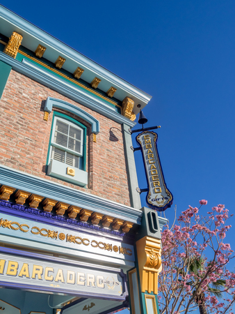 rafters: ANAHEIM, CALIFORNIA - FEBRUARY 15: Colorful San Francisco themed buildings at Disney California Adventure Park on February 15, 2016 in Anaheim, California. Disney California Adventure Park is themed after the history and culture of California.
