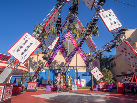 rafters: ANAHEIM, CALIFORNIA - FEBRUARY 15: Detail of mad hatter stage in Hollywood Studios at Disney California Adventure Park on February 15, 2016. Disney California Adventure Park is themed after the history and culture of California.