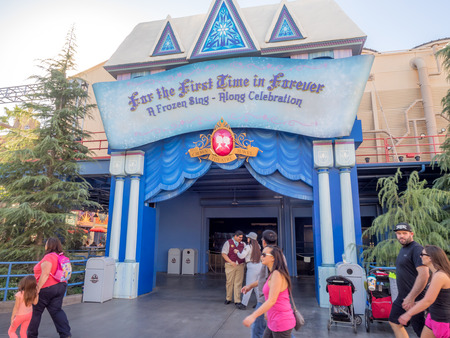 rafters: ANAHEIM, CALIFORNIA - FEBRUARY 15: Entrance to the Frozen sing a long stage show at Disney California Adventure Park on February 15, 2016. Disney California Adventure Park is themed after the history and culture of California. Editorial