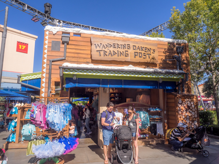 ship with gift: ANAHEIM, CALIFORNIA - FEBRUARY 15: Frozen themed gift ship at Hollywood Studios at Disney California Adventure Park on February 15, 2016. Disney California Adventure Park is themed after the history and culture of California.