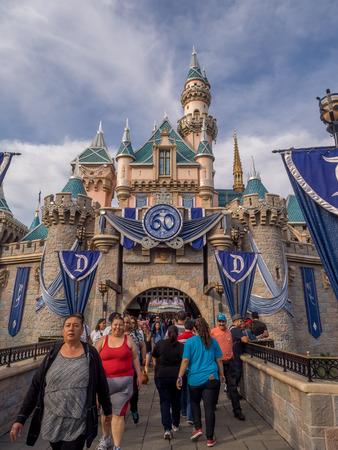 castle district: ANAHEIM, CALIFORNIA - FEBRUARY 14: Sleeping Beautys Castle at the Disneyland Park on February 14, 2016 in Anaheim, California. Disneyland is Walt Disneys original theme park. Editorial