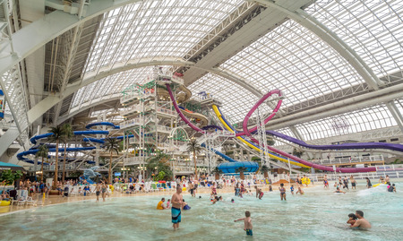 EDMONTON, CANADA - MAY 21: West Edmonton Mall water park attraction on May 21, 2016 in Edmonton, Alberta. The West Edmonton Mall was once the largest mall in the world.