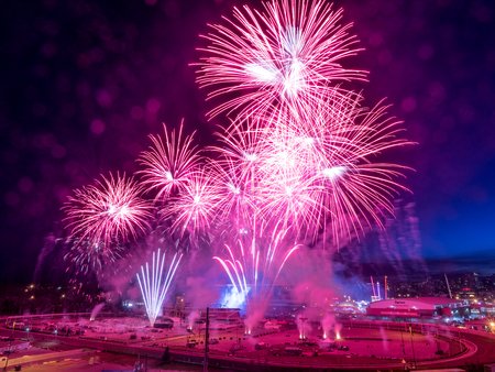 CALGARY, CANADA - JULY 8: Fireworks at the the Calgary Stampede at sunset on July 8, 2016 in Calgary, Alberta. The Calgary Stampede is often called the greatest outdoor show on Earth. Editorial