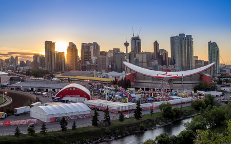 stampede: CALGARY, CANADA - JULY 8: Panoramic view of the the Calgary Stampede at sunset on July 8, 2016 in Calgary, Alberta. The Calgary Stampede is often called the greatest outdoor show on Earth. Editorial