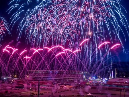 stampede: CALGARY, CANADA - JULY 8: Fireworks at the the Calgary Stampede at sunset on July 8, 2016 in Calgary, Alberta. The Calgary Stampede is often called the greatest outdoor show on Earth. Editorial