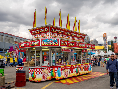 CALGARY, CANADA - JULY 9: Confection booth at the the Calgary Stampede midway on July 9, 2016 in Calgary, Alberta. The Calgary Stampede is often called the greatest outdoor show on Earth. Editorial
