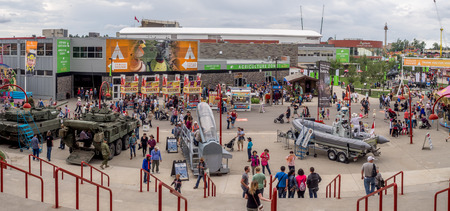 calgary stampede: CALGARY, CANADA - JULY 8: Panorama of the grounds at the Calgary Stampede at sunset on July 8, 2016 in Calgary, Alberta. The Calgary Stampede is often called the greatest outdoor show on Earth. Editorial