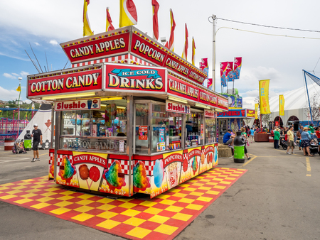 calgary stampede: CALGARY, CANADA - JULY 9: Confection booth at the the Calgary Stampede midway on July 9, 2016 in Calgary, Alberta. The Calgary Stampede is often called the greatest outdoor show on Earth. Editorial