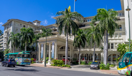 Front exterior panorama of the Moana Surfrider on August 2, 2016 in Honolulu. Known as the First Lady of Waikiki, is a famous historic hotel on the island of Oahu built in 1901.