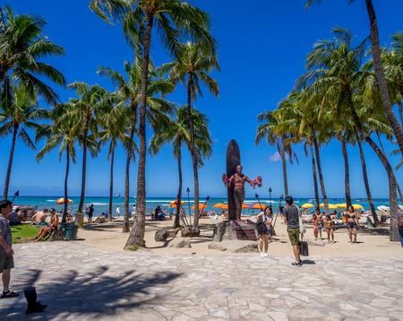 popularized: WAIKIKI, HI - AUG 3: Duke Kahanamoku Statue on Waikiki Beach on August 3, 2016 in Honolulu. Duke famously popularized surfing and won gold medals for the USA in swimming.