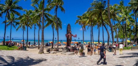 oahu: WAIKIKI, HI - AUG 3: Duke Kahanamoku Statue on Waikiki Beach on August 3, 2016 in Honolulu. Duke famously popularized surfing and won gold medals for the USA in swimming.